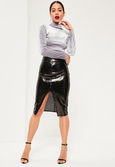 black-all-over-sequin-split-front-midi-skirt