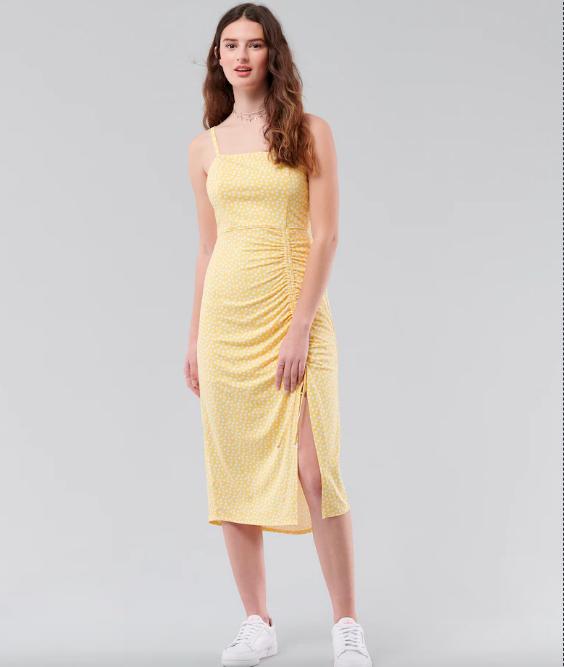 Yellow Split Midi Dress